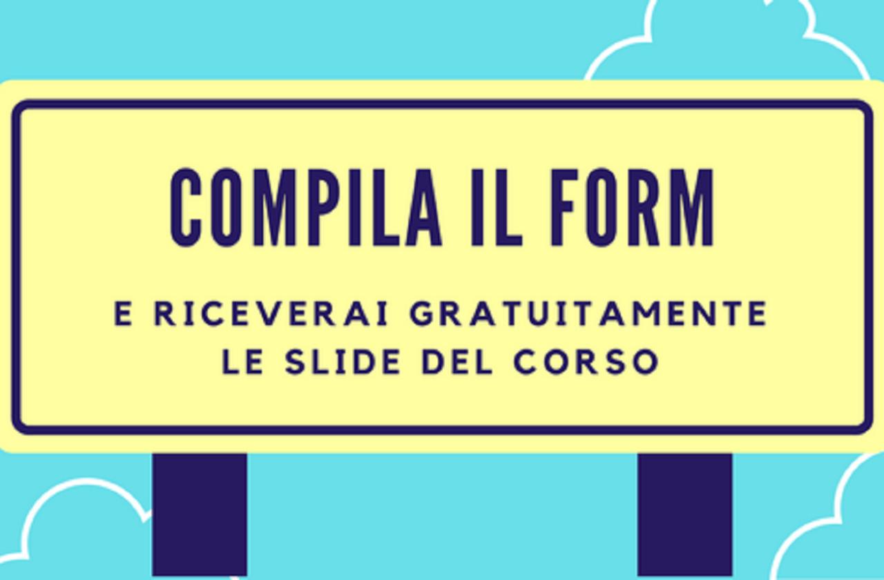 Slide del corso di web marketing: vendere per il Fitness tenuto da Carmine Preziosi