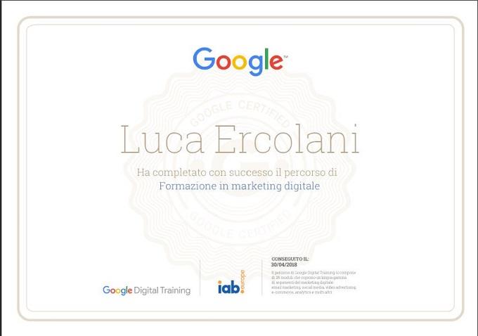 Luca Ercolani: Attestato del Corso di Formazione in Marketing Digitale di Google